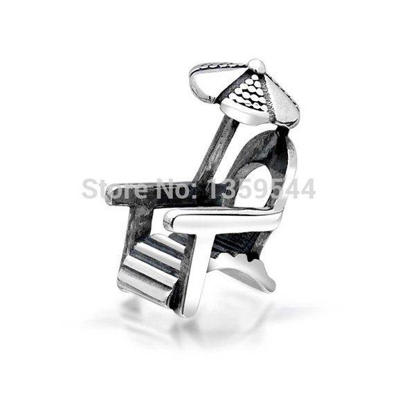Пляжный Зонт, Кресло 100% 925 Серебряная Очарование Бусы Подходит Pandora Европейские Шармы Браслет M