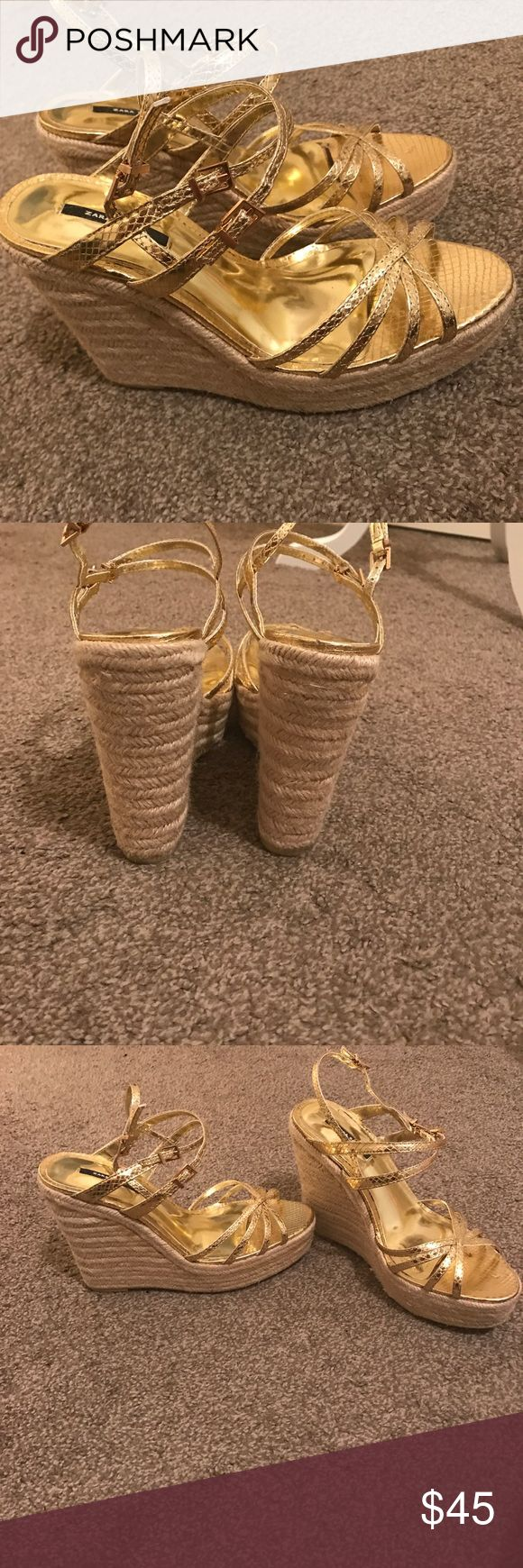 Zara Gold Espadrille Wedges Worn twice I def needed a 40. These are in amazing condition. If you ever wanted gold wedges espadrilles these are your shoe! From the Zara Basic Collection Zara Shoes Espadrilles