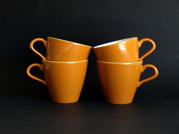 Poole Desert Song Cups - Vintage Orange Mustard Teacups 70s - Made in England - Set of Four Funky Cups! by FunkyKoala on Etsy