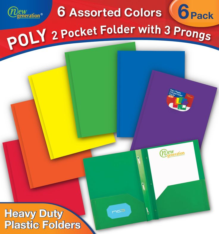 New Generation - 2 Pocket Poly / Plastic Folder WITH 3 PRONGS , for Letter Size Papers, Includes Business Card Slot , 6 PACK . (MULTI COLOR)