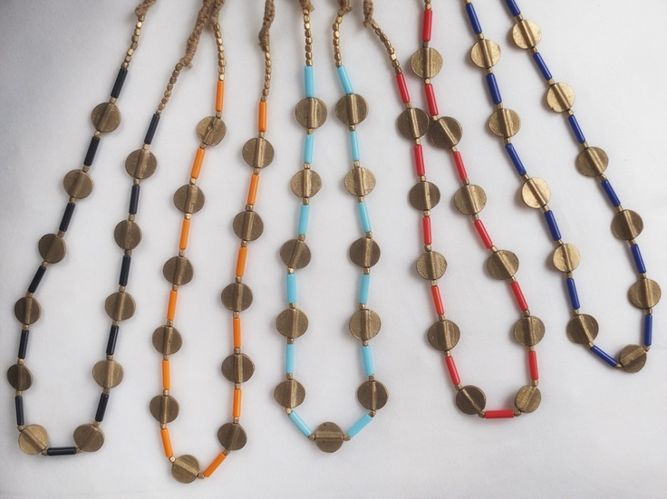 Bronze and glass collars.  From Orissa, India.