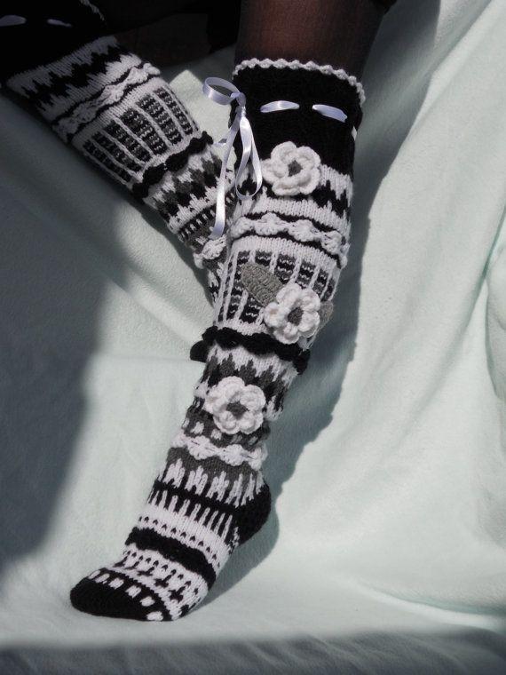 Over-the-Knee Socks Thigh High Socks Ladies by KateNikolova