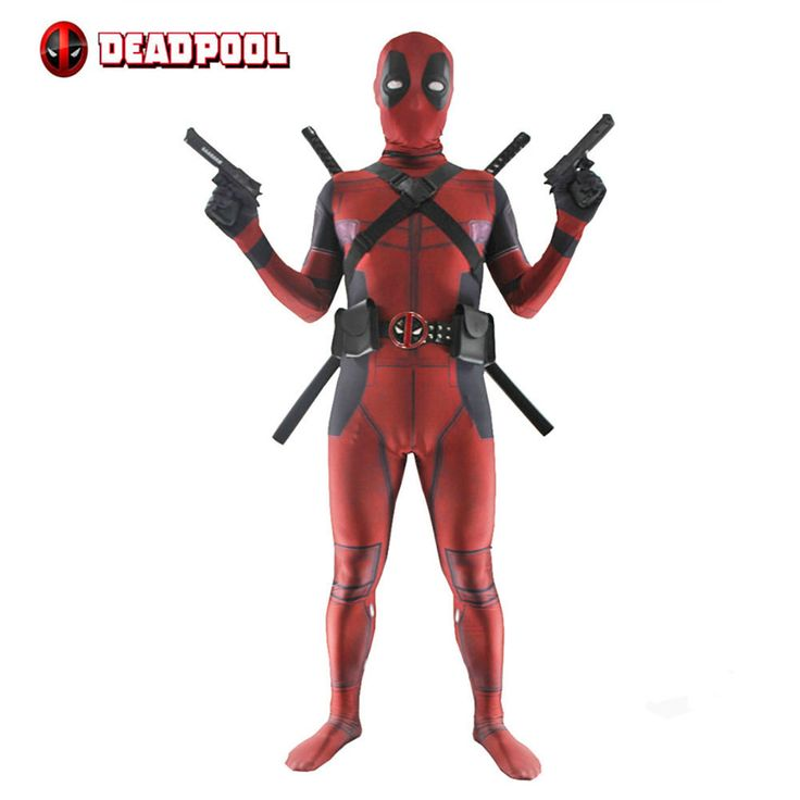 Deadpool Costume Unisex Lycra Spandex Zentai 3D Style Bodysuit Fancy Dress Deadpool Costume With Accesorries Cosplay Outfit #Affiliate