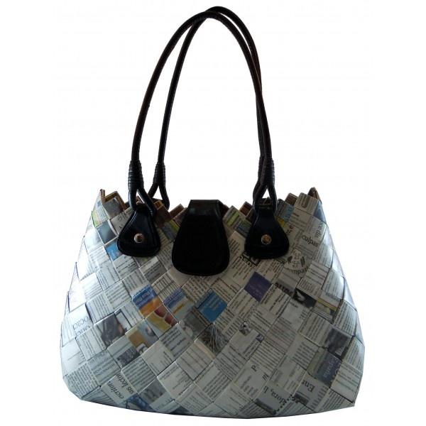 Rosanella Paper: borsa realizzata a mano intrecciando fogli di giornale