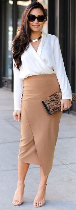 Camel Wrap Midi Skirt Holiday Style Inspo by With Love From Kat #camel