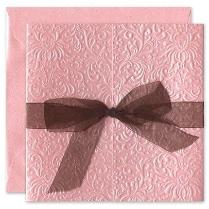 Pink Embossed Invitations - Birchcraft (  But maybe a different color bow...