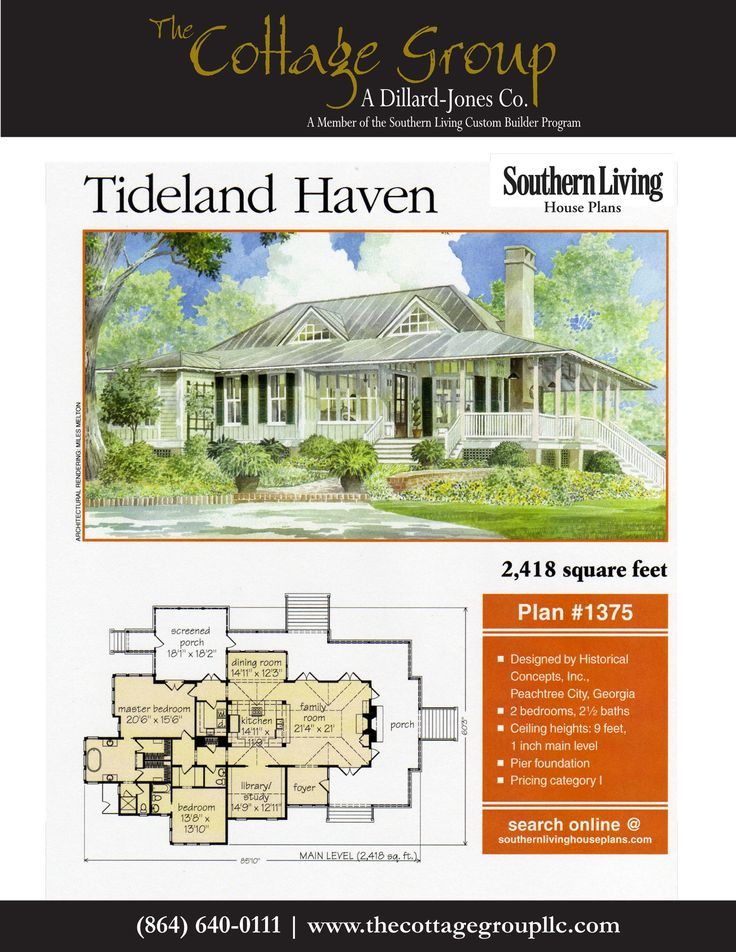 Southern living house plans new tideland haven for Historical concepts floor plans