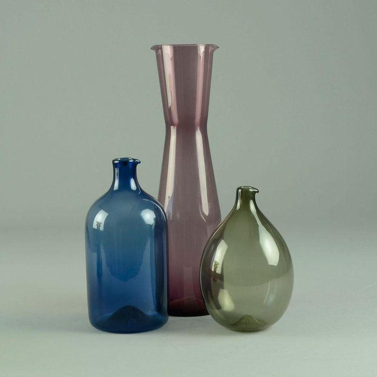Three i-glass decanters by Timo Sarpaneva for Iittala