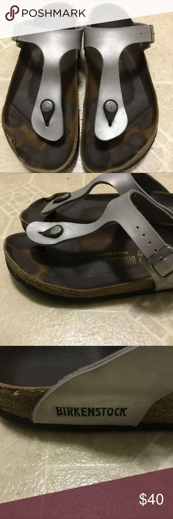 Birkenstocks Birkenstocks Gizeh Silver Birkenstock Shoes