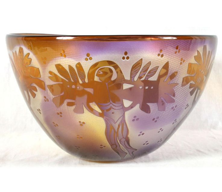 * Bertil Vallien (Swedish, 1938), Glass Bowl with Sand Blasted Decoration.