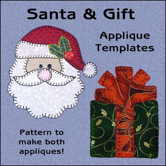 Santa & Gift Applique Templates  Santa by ShersPatternShop on Etsy, $3.00