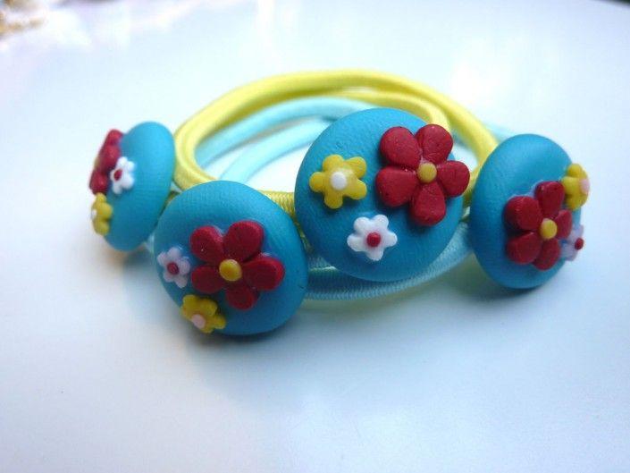 #turquoise #hairlaces decorated with colorful flowers in polymer clay handmade - Lacci per capelli decorati con fiorellini colorati in fimo fatto a mano
