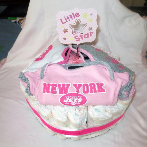 New York Jets Diaper Cake Baby Girl Shower Gift by CuttingItUp