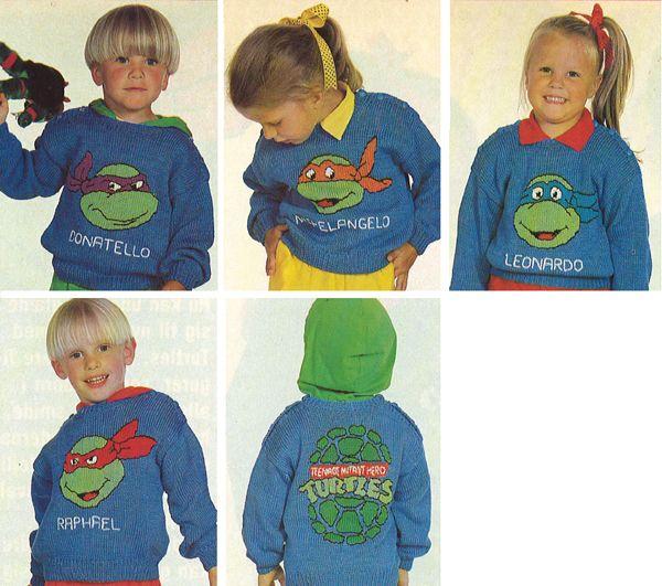 Gratis strikkeopskrifter | Strik børnebluser med Teenage Mutant Ninja Turtles | Strik med tegneseriefigurer
