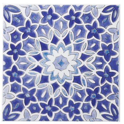 Colours Blue Fleur Ceramic Wall Tile (L)200mm (W)200mm: Image 1