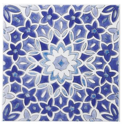 Colours Blue Fleur Ceramic Wall Tile (L)200mm (W)200mm: Image 1