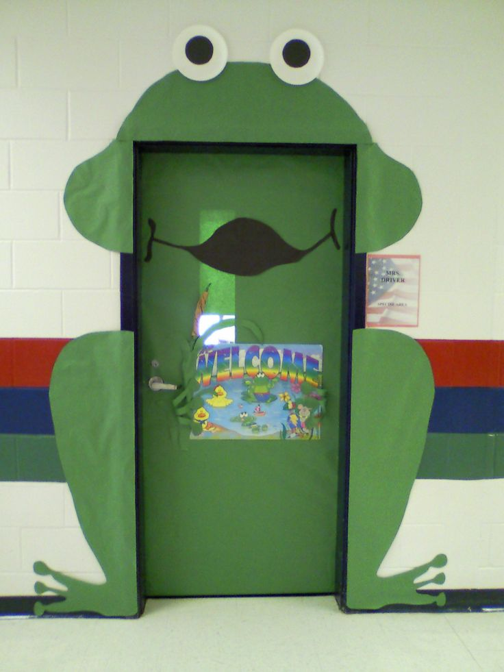 This is my creation of a Frog on my classroom door. As you can see he was fairly simple to make. Most everyone thought it turned out rather cute! In retrospect, I think I could've made his feet bigger and made a few other adjustments. Pleased overall since this was my first frog door. LOL