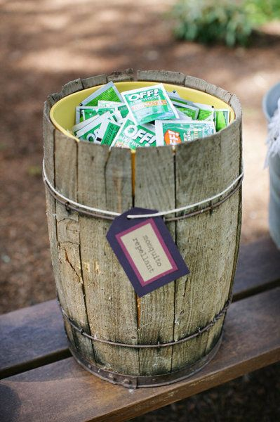 Supplies for outdoor weddings (the OFF wipes alone are a great idea!)