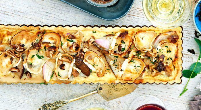 Chèvrepaj med valnötter och päron