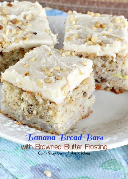 Banana Bread Bars with Browned Butter Frosting | Can't Stay Out of the Kitchen | these delicious #brownies are great for summer #holiday fun. The browned butter frosting is amazing. #bananas #dessert #cookie