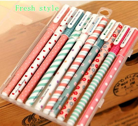 Cute stationery set of 10 color gel pens for DIY by JnMstudio, $8.00  How cute are these ? x