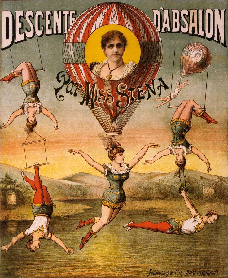Descente d'Absalon par Miss Stena Vintage Circus Poster, 1880