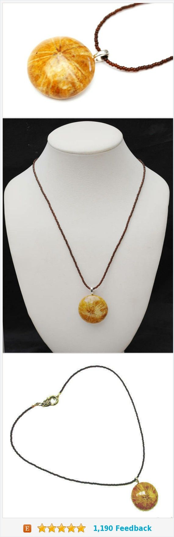fossil sand dollar necklace - echinoderm pendant - Brownd domed round Shell- handmade bead necklace https://www.etsy.com/serendipitytreasure/listing/232944587/fossil-sand-dollar-necklace-echinoderm?ref=listing_published_alert