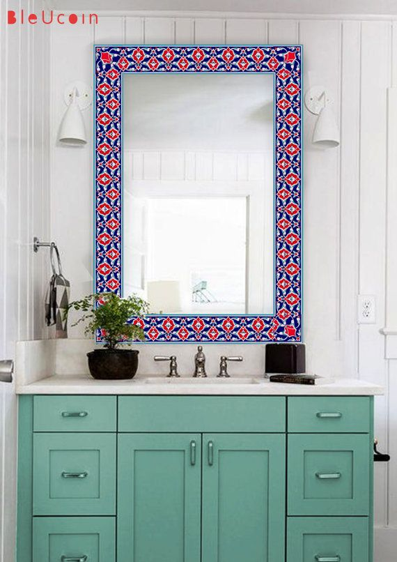 Turkish border Tile/wall/Mirror decal:  Your Order will contain 30 tile decals,(26 pcs for border design & 4 pcs corner design)  You can select the size