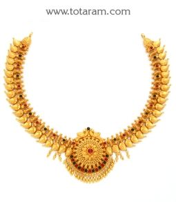 Buy 22K Gold 'Peacock' Necklace (Temple Jewellery) - GN1941 with a list price of $1,900.99 - 22K Indian Gold Jewelry from Totaram Jewelers