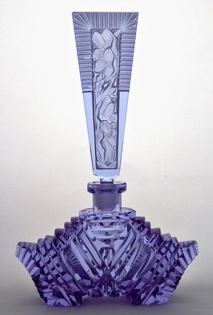 Bohemian Violet Art Deco Glass Perfume Bottle, Signed 'Original Pesnicak' ✿❦✿❦✿