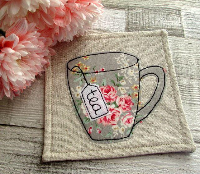 Coaster - Floral Coaster - English Rose - Fabric Coaster £6.50