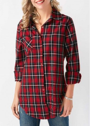 Button Up Tie Front Long Sleeve Plaid Shirt on sale only US$29.37 now, buy cheap Button Up Tie Front Long Sleeve Plaid Shirt at liligal.com