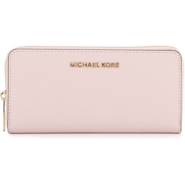 MICHAEL Michael Kors Jet Set Continental Leather Wallet (18370 ALL) ❤ liked on Polyvore featuring bags, wallets, blossom, michael michael kors, pink leather bag, pink wallet, pink leather wallet i logo bags