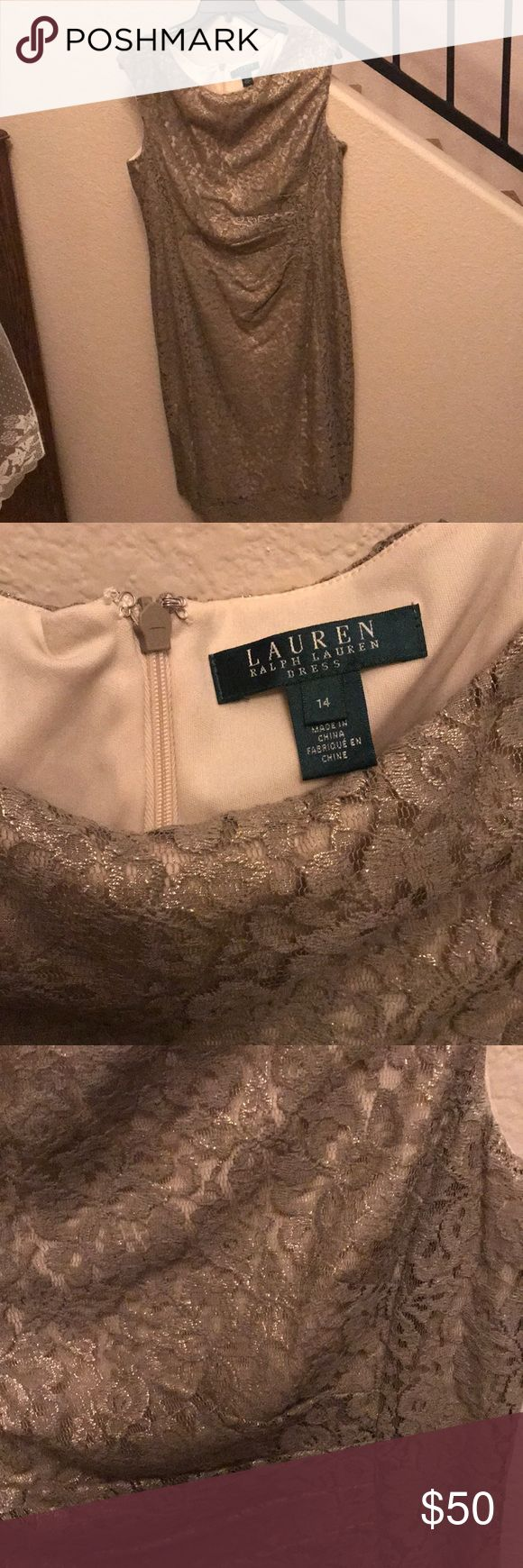 Ralph Lauren Gold lace dress BEAUTIFUL! Ralph Lauren lace and gold dress. This is a stunning dress! Great with a pair of heels for a night out. Never been worn, just sitting in a protecting bag in closet. Women's size 14 40 inches long. Ralph Lauren Dresses