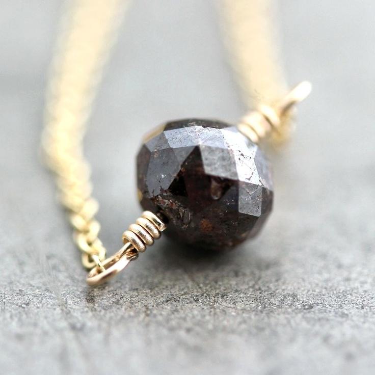 Brown Diamond Necklace, Natural 2 Carat Russet Brown Diamond 14k Gold Necklace Gold Diamond Jewelry - Sienna. $450.00, via Etsy.