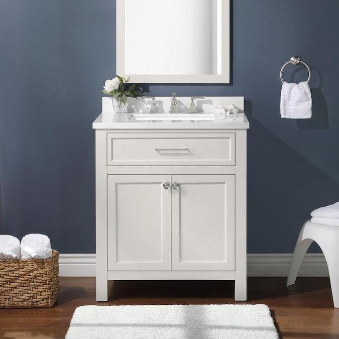 Martha Stewart Oakland 30-in White Single Sink Bathroom Vanity With Yves  Cultured Marble Top Lowes.com Single Sink Bathroom Vanity, Cultured  Marble, Bathroom Sink Vanity