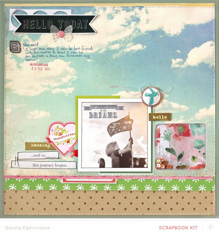 Shaker box on a layout! Hello Today by natalieelph at @Studio_Calico