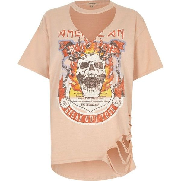 Orange skull print cut out T-shirt ❤ liked on Polyvore featuring tops, t-shirts, short sleeve t shirts, pink tee, cut out t shirt, pink t shirt and short sleeve tee