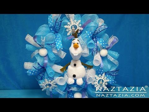 DIY Frozen Inspired Olaf Wreath How To Tutorial - Curls Curly Ribbon Deco Poly Geo Mesh - YouTube