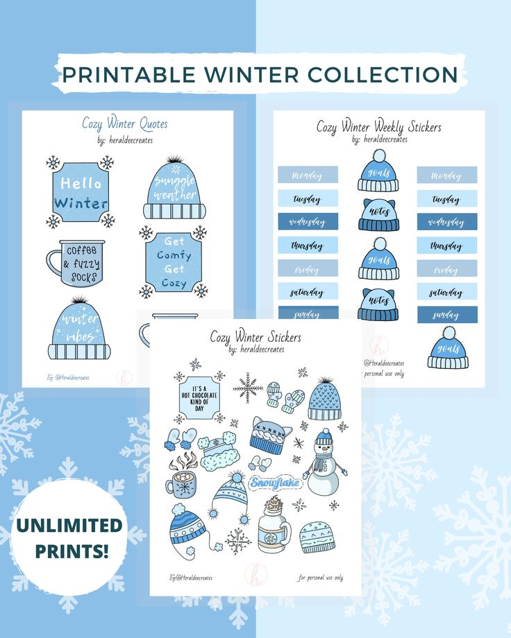Winter Aesthetic Stickers, 51 Assorted Printable Stickers ...