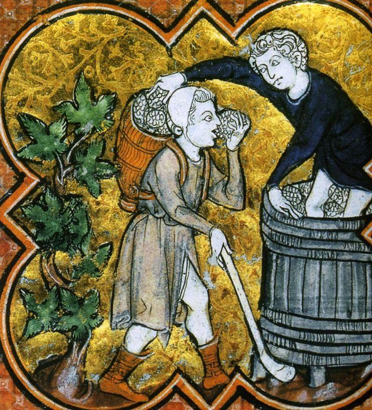 1270 portages du raisin lors des vendanges, martyrologe obituaire de Saint-Germain-des-Pres, Paris Bnf France / illumination / 13th century / wine /vineyards / peasant