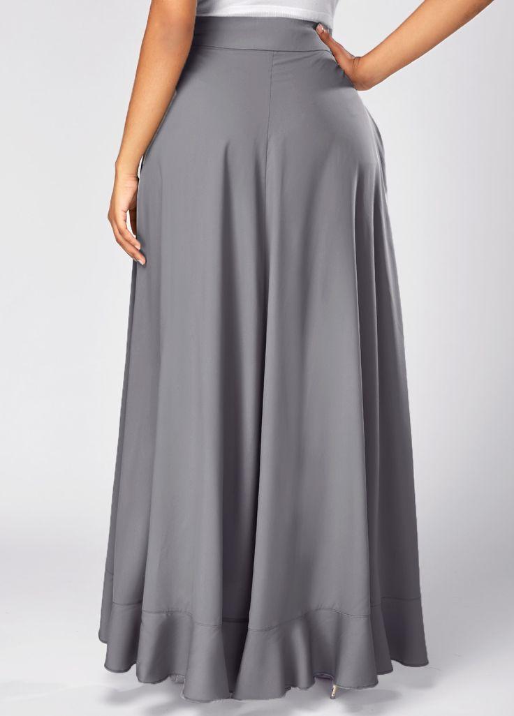 Grey Side Zipper Tie Front Overlay Pants | Rosewe.com - USD $31.40