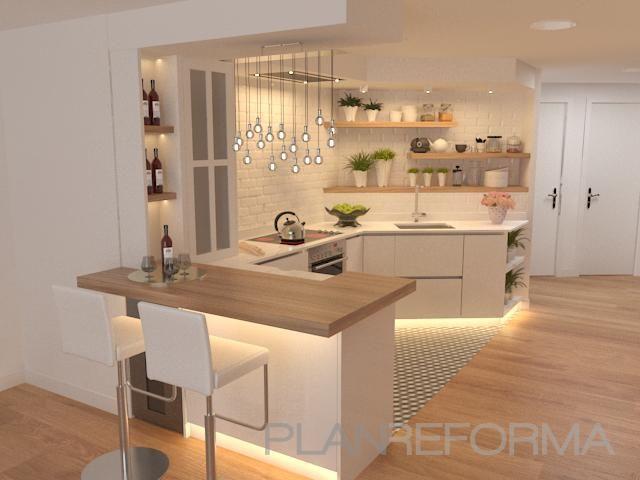 Cocina Estilo moderno Color beige, blanco, bronce diseñado por Rysibcn SL | Gre…