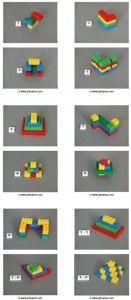 * Duplo opbouw! Twaalf voorbeeldkaarten met bouwwerken gemaakt van vier kleuren duplo blokken. Elke kaart is genummerd in loopt op in moeilijkheidsgraad. De voorbeelden zijn drie dimensionaal.