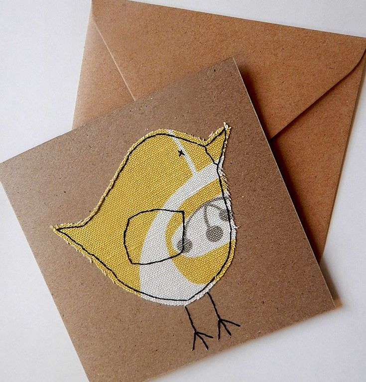 Handmade, hand stitched bird card, textile card, fabric card, card for girls,grandparent card, birthday card, thank you card, kraft card by LuKannaDesigns on Etsy