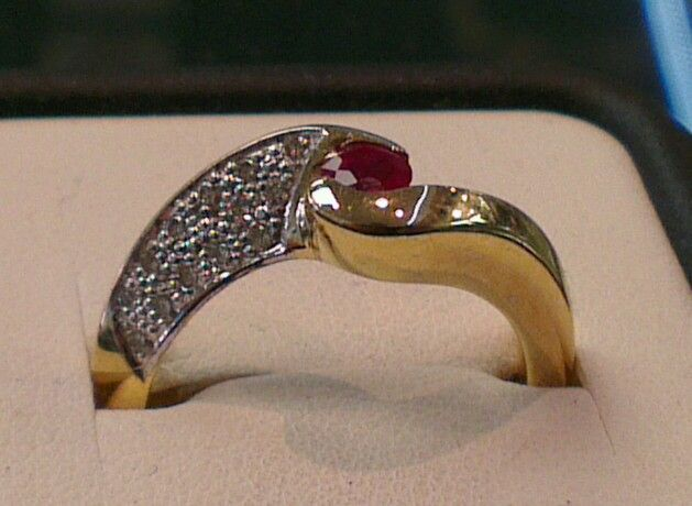 Diamond and ruby, 18ct ring  steinerjewellery.com