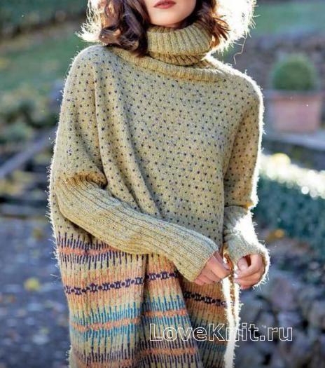 Спицами длинный свободный свитер с рисунком фото к описанию