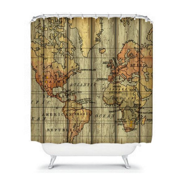 World Map Shower Curtain Grunge Primitive By Folkandfunky