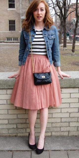 A denim jacket makes this layered look casual for daytime #stylegallery