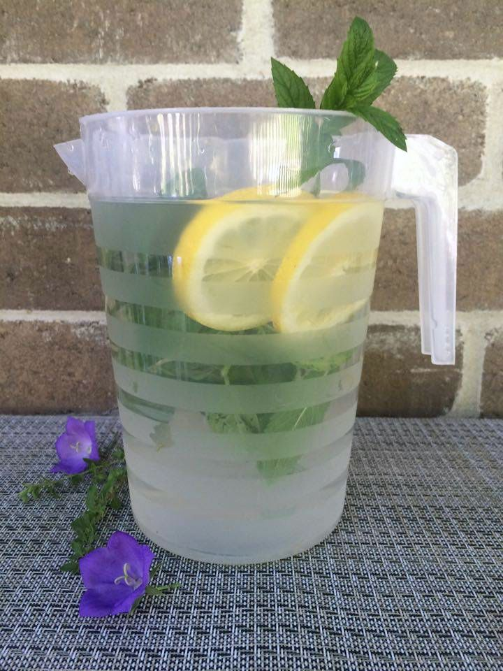 Lemon, basil and mint infused water. Liven up your summer!